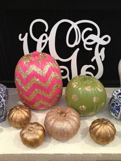 Glitter Chevron and Polka Dot Pumpkins - Girly, fun and covered in glitter...does it get any better?