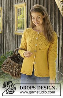 Golden fairy cardigan / DROPS - free knitting patterns by DROPS design Knitted jacket in DROPS Cotton Merino or DROPS Lima. The piece is knitted with a round yoke and lace pattern. Ladies Cardigan Knitting Patterns, Knit Cardigan Pattern, Jacket Pattern, Knitting Patterns Free, Free Knitting, Cardigan Design, Free Pattern, Crochet Patterns, Laine Drops