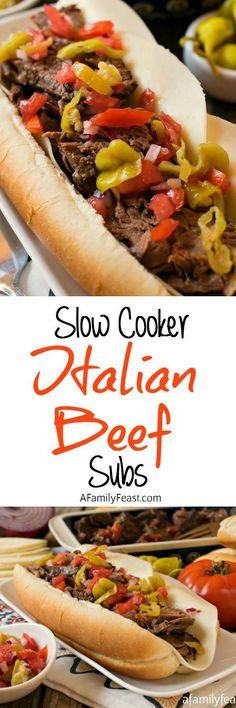 Slow Cooker Italian Beef Subs - Perfect for game day parties or a busy weeknight dinner - this Italian Beef is fantastic!