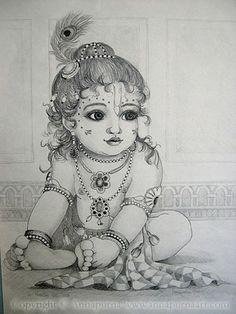 🕉 The beautiful world of Hinduism 🕉 🌷Jai Shri Radhe-Krishna 🌷 Lord Krishna Sketch, Krishna Drawing, Krishna Painting, Ganesha Sketch, Little Krishna, Cute Krishna, Krishna Art, Radhe Krishna, Hanuman