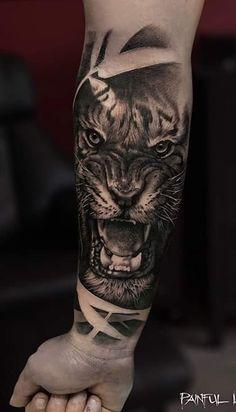 Mens Tiger Tattoo, Lion Tattoo, Cat Tattoo, Boy Tattoos, Tattoos For Guys, Tatoos, Animal Tattoos For Men, Beautiful Tattoos, Tattoo Inspiration