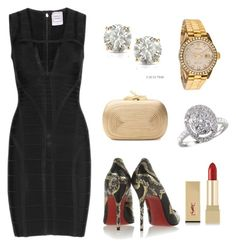 Ready for Dinner by moarbaje on Polyvore featuring Hervé Léger, Christian Louboutin, Diane Von Furstenberg, Rolex, Auriya, EWA and Yves Saint Laurent