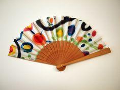 Handpainted Silk hand fan-Wedding hand fan-Giveaways-Bridesmaids-Spanish hand fan- Style Miro-14 x 7.5 inches (35 cm x 19 cm) de gilbea en Etsy