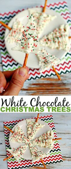 White Chocolate Christmas Trees make for a pretty and complicated looking treat. They certainly make a wonderful addition to any Christmas treat plate! (christmas party treats for kids dipped pretzels) Christmas Deserts, Holiday Snacks, Snacks Für Party, Christmas Chocolate, Christmas Goodies, Christmas Candy, Holiday Recipes, Christmas Time, Christmas Parties