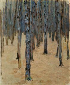 Koloman Moser, Forêt de pins en hiver, c. 1907, Huile sur toile, 55,5 x 45,5 cm. © Belvedere, Vienne.