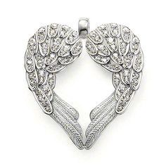 "thomas sabo Pendant ""Feather heart"" with eyelet   925 Sterling silver  White syn. Zirconia  The feather heart stands for total faith intrue4love and the willingness to protect it.  Size: 4.3 cm"