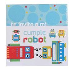 Invitaciones Robots 12u - Decoracion Ambientacion Cotillón Fiestas y Cumpleaños