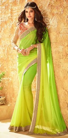 Green Zari Lace Work Saree With Georgette Material
