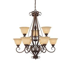 Auburn Rubbed Bronze Nine-Light Chandelier with Turinian Scavo Glass  sc 1 st  Pinterest & I pinned this Loretto 6-Light Chandelier from the Golden Lighting ... azcodes.com