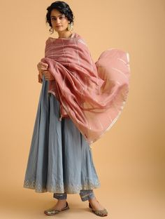 Buy Pink Aari-embroidered Cotton Chanderi Dupatta with Gota Work Online Indian Attire, Indian Ethnic Wear, Indian Outfits, Indian India, Ethnic Style, Kurti Designs Party Wear, Kurta Designs, Indian Designer Suits, Dress Indian Style