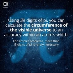 39 might seem like a lot, but it's a lot less than infinity. Check out the full article on Curiosity.com and in the Curiosity app! #digitsofpi #pi #314 #curiosity #math #universe Discovery Channel Shows, Curiosity, Universe, Math, Infinity, Check, Instagram, Mathematics, Infinite