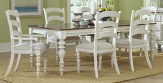 Hillsdale Furniture 5265DTBRCL7 Pine Island 7 PC Dining Set - with Ladder Back Chairs