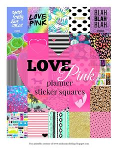 Free Printable Planner Squares LOVE PINK inspired Andrea Nicole Blogs