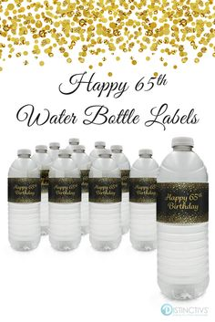 Bring that extra special touch to your birthday black and gold party decorations and drink station with water bottle labels. 65th Birthday Party Ideas, Birthday Party Decorations Diy, Birthday Drinks, Birthday Favors, 65 Birthday, Black And Gold Party Decorations, Water Party, Bottle Labels, Water Bottle