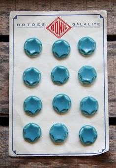 12 Star Arctic Blue Galalith Buttons Collection On Card by RubanRuban on Etsy