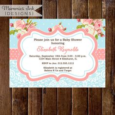 Shabby Style Pink Roses and Light Blue Polka Dots Baby Shower Invite - PRINTABLE INVITATION DESIGN