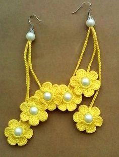 Most current Photo Crochet flowers earrings Style Crochet earrings, crochet flower earrings, crochet jewelry, yellow flowers Crochet Jewelry Patterns, Crochet Earrings Pattern, Crochet Flower Patterns, Crochet Bracelet, Crochet Accessories, Crochet Flowers, Jewelry Accessories, Crochet Ideas, Jewelry Design