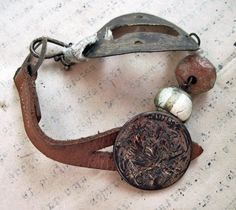 Rustic keyhole coin beads bracelet