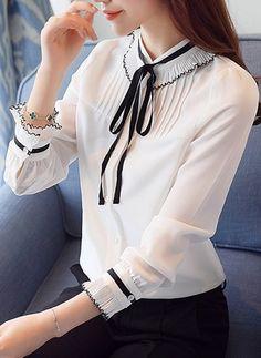 Color Block Casual Chiffon High Neckline Long Sleeve Blouses