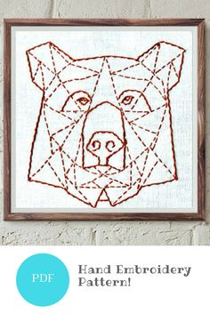 Geometric bear embroidery pattern. #stitching #geometricdesign #ad