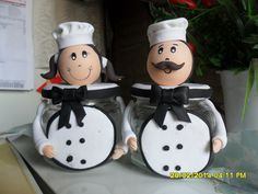Polymer Clay Crafts, Diy Clay, Creative Crafts, Diy And Crafts, Fat Chef Kitchen Decor, Clay Jar, Mug Art, Clay Design, Glass Containers