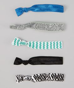 Take a look at this Blue & Mint Green Zigzag Hair Tie Set by My Ties on #zulily today!