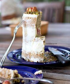 pistachio cake with honey mascarpone frosting