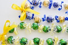 Green & Gold, and Blue & Gold Kukui nut candy leis, single ribbon