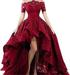 Women's Off Shoulder Lace Long Prom Dress High Low 2019 Plus Size Formal Evening Party Gown Burgundy 8 High Low Prom Dresses, Trendy Dresses, Homecoming Dresses, Cute Dresses, Beautiful Dresses, Short Sleeve Dresses, Formal Dresses, Dress Prom, Short Sleeves