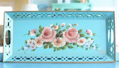 Aqua tole! (or any vintage, metal tole trays.  Love!)