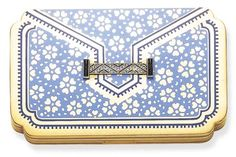 ART DECO ENAMEL, DIAMOND AND GOLD COMPACT, BY CARTIER / stylized envelope design, opening to reveal a fitted mirror, lipsick and powder compartment / circa 1925