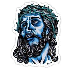 Blue Jesus  by Aarron Laidig - Neo Traditional Tattoo Flash Art Sticker by tattoo artist Aarron Laidig