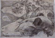 Quentin Garel, Palimpseste VII, Charcoal on Paper Willow Sticks, Art Et Nature, Ap Drawing, Singapore Art, Gcse Art, Ap Art, Animal Skulls, Beautiful Drawings, Art Sketchbook