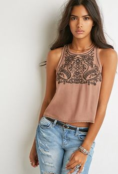 Ornate-Embroidered Tank | Forever 21 - 2000155840