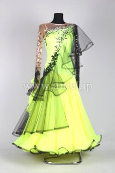 Yellow and black mesh one-shoulder modern ballroom dress