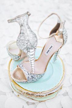 Miu Miu  silver white glitter sandals