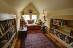 The attic is a perfect place for a cozy reading room
