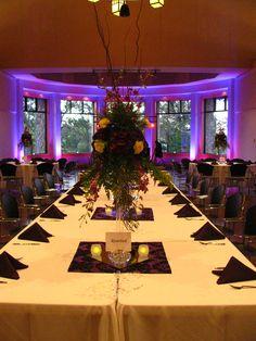 Purple and yellow wedding reception