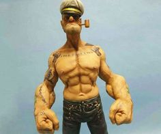 Turns out spinach works even on toys. Headplay Toys made this badass realistic Popeye the Sailor Man. Vinyl Toys, Vinyl Art, Custom Action Figures, Vinyl Figures, Zbrush, Popeye The Sailor Man, Statue Tattoo, Modelos 3d, Designer Toys