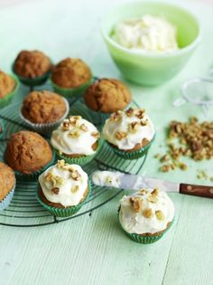 The only thing that could make carrot cake any better is making it into cupcakes, this carrot cake cupcakes recipe from Jamie Oliver is beautifully moist. Veggie Recipes Healthy, Fruit Recipes, Cupcake Recipes, Vegetable Recipes, Sweet Recipes, Cooking Recipes, Easter Recipes, Tea Recipes, Healthy Baking