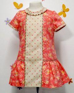 Vestido para niña pique coral - Primavera/Verano - MiBebesito. Ropa de Bebe y moda flamenca infantil hecha a mano