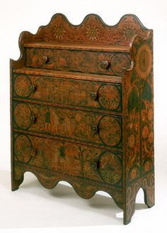 Paint-decorated chest of drawers, George Robert Lawton, Sr., Portage County, Wisconsin, 1870