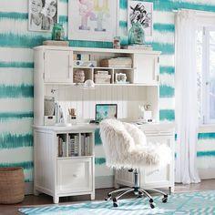 Ivory Furlicious Wingback Desk Chair | PBteen