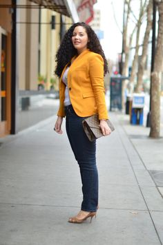 Mustard yellow blazer, denim jeans and white top