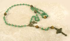 Green Jade Tigers Eye Antique Bronze Vintage Style Crown of Thorns Rosary