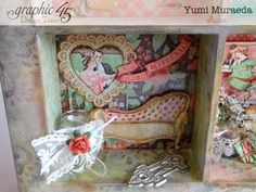 45 Time to Celebrate Shabby Chic Shadowbox by Yumi Graphic 45, Time To Celebrate, Wonderful Things, Shadow Box, Shabby Chic, Frames, Paper Crafts, Journal, Japan