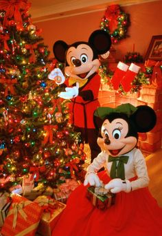 Mickey Mouse and Minnie Mouse at Christmas.   #disneychristmas #disneyxmas #disney #christmas #holiday #xmas