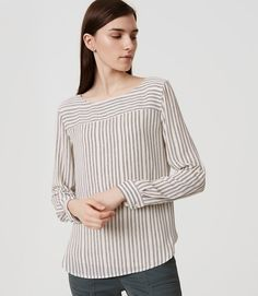 Primary Image of Petite Striped Tab Sleeve Blouse