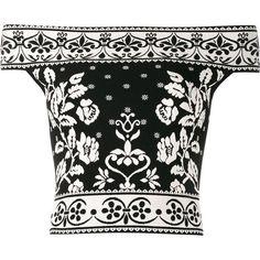 Alexander McQueen floral jacquard off-shoulder top (€495) ❤ liked on Polyvore featuring tops, alexander mcqueen, blusa, black, short sleeve crop top, flower print top, off the shoulder tops and short sleeve off the shoulder top