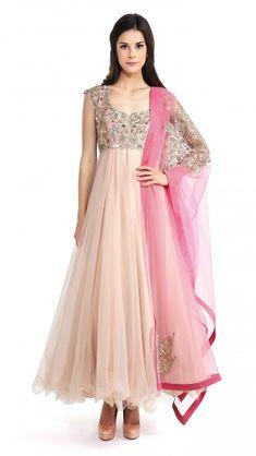 Anushree Reddy's Nude and Pink Net Anarkali - JIVA